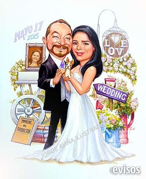 Ilustración de novios en caricatura para su invitación de boda
