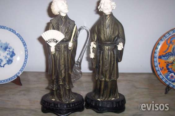 Crisoelefantinas pareja de dignatarios orientales en bronce y marfil,palermo
