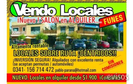 Funes vendo o permuto..dueño !locales en ruta y centricos !! vendo locales