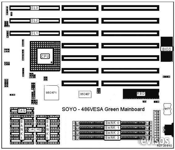 Compro motherboard marca soyo, modelo 486vesa green mainboard.