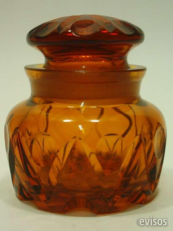 Antiguo frasco o pote de cristal tallado color ámbar