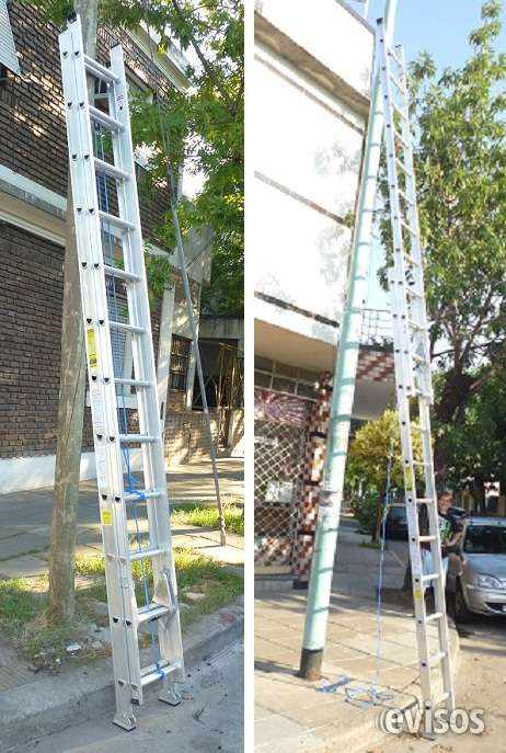 Escalera extensible aluminio reforzada altura extendida 6.30 mts