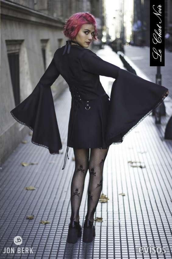 048c3e8bd Ropa Gótica; Vestidos góticos gothabilly; Vestido Gótico Negro con alpinos  y cadena. Bolero gotico .