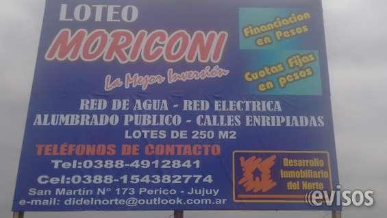 Loteo moriconi monterico jujuy