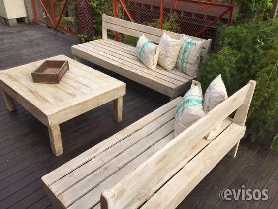 Juego de living jardin para exterior en madera reciclada