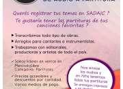 Transcripción de Partituras - Copista- Registro Sadaic