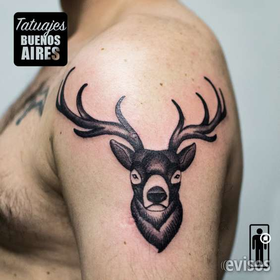 Tatuaje alce realizado por jose luis segura martinez #tattoo #tatuajes #alce #hombro #brazo #hombre #animal #negro #grises #sombras #tatuajesbuenosaires #buenos #aires #argentina