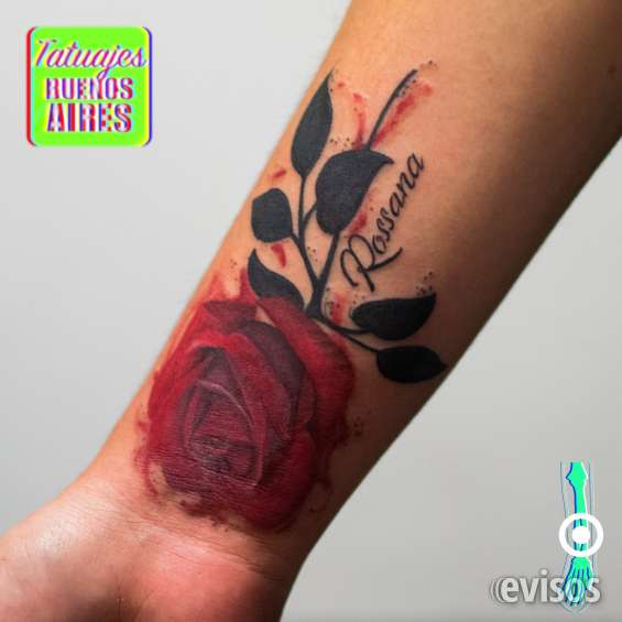 Tatuaje cover up rosa roja realizado por @jose luis segura martinez #tattoo #tatuajes #rosa #roja #cubrir #tapar #encima #flor #flowers #name #nombre #date #arm #brazo #girl #tatuajesbuenosaires