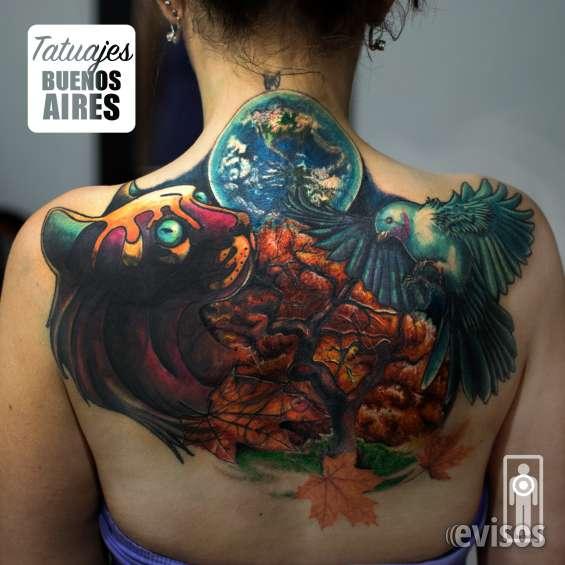 Tatuaje cover de espalda, full color. #tattoo #tatuajes #mujer #otoño #gato #planeta #tierra #satelite #espacio #colibri #mujeres @espalda #coverup #cubrir #tapar #tatuajesbuenosaires