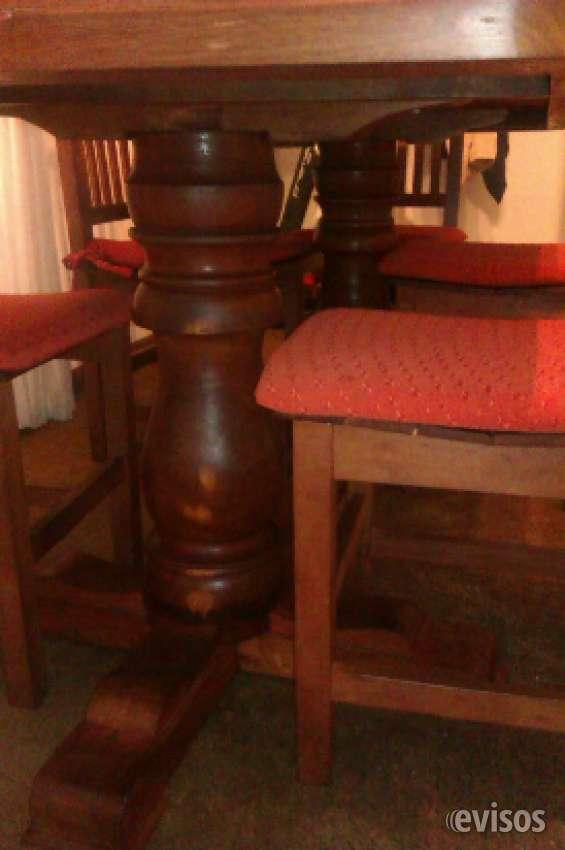 Excelente oferta!! vendo mesa de algarrobo con patas bocha de 2x0.9mts y 6 sillas