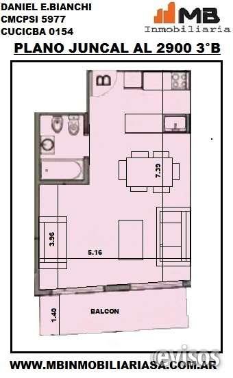 Recoleta venta dpto monoamb.c/balcon en juncal al 2900 3°b