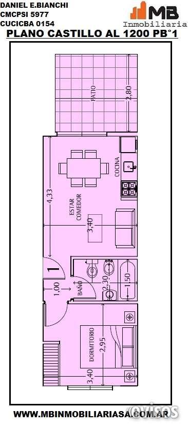 Chacarita venta ph construcción 2 amb.c/patio en castillo al 1200 pb°1