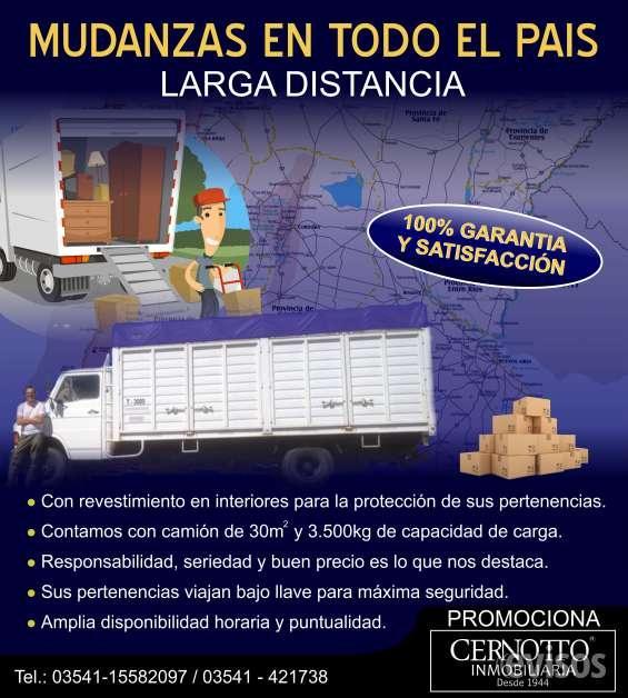 Servicio de mudanza larga distancia, en argentina