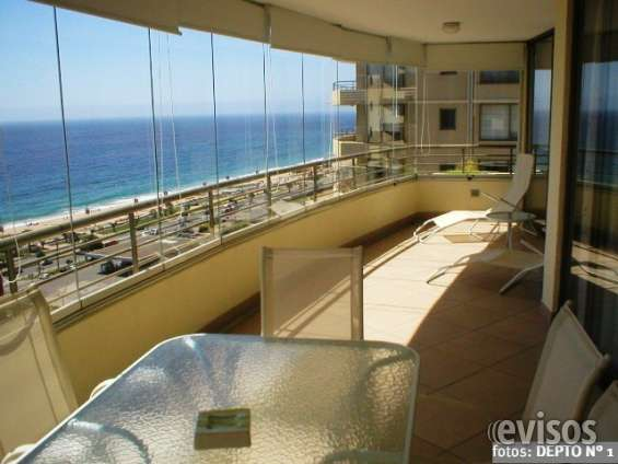 Alquiler viña del mar 8 personas, hermosa vista mar, terraza, cocheras, piscina temperada