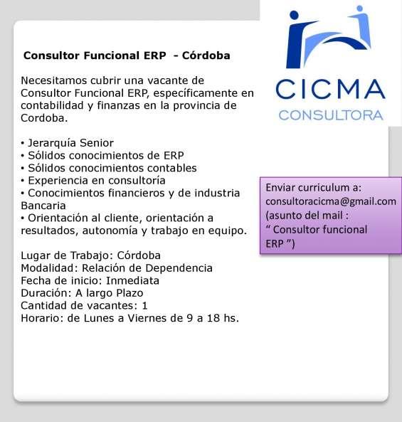 Consultor funcional erp senior - córdoba