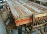 Mesa rustica realizada con maderas recicladas ideal quincho
