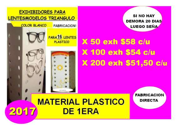 Fabricacion de exhibidores de plastico para lentes