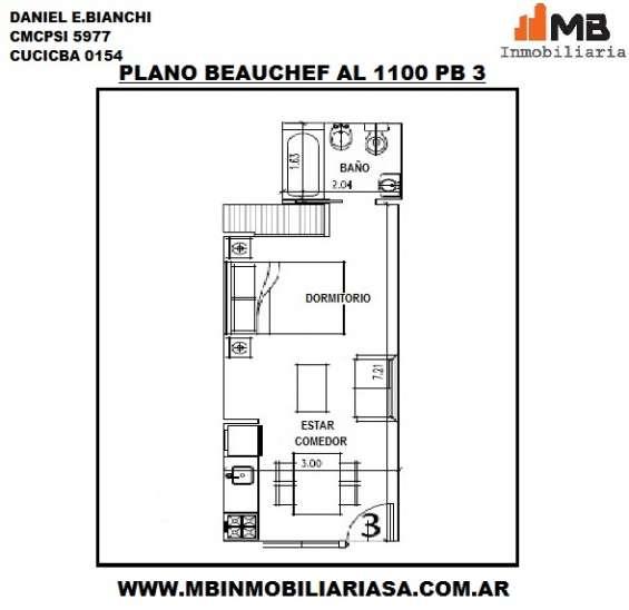 Parque chacabuco venta monoamb. en construcción en beauchef al 1100 pb°3