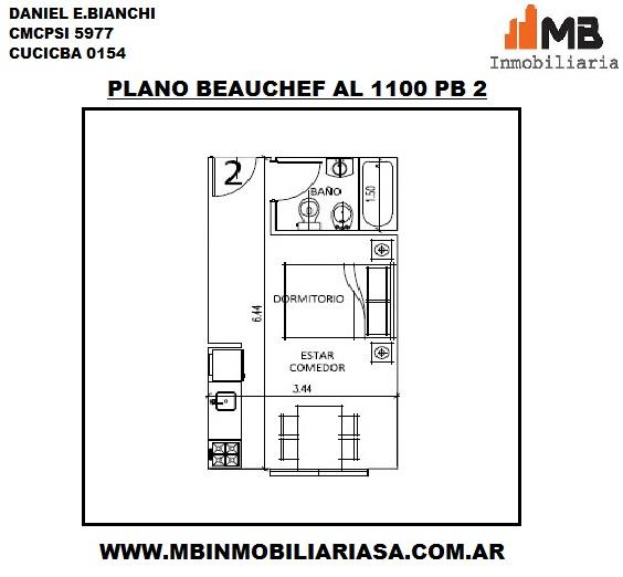 Parque chacabuco venta monoamb. en construcción en beauchef al 1100 pb°2