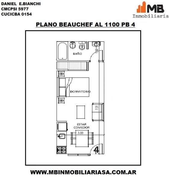 Parque chacabuco venta monoambiente entrada independiente, en beauchef al 1100 pb 4