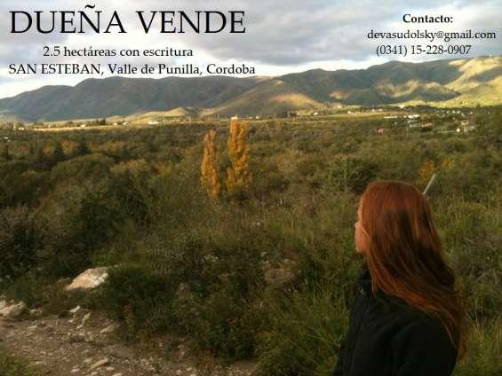 Dueña vende 2,5 hectáreas con escritura en san estéban, valle de punilla, córdoba