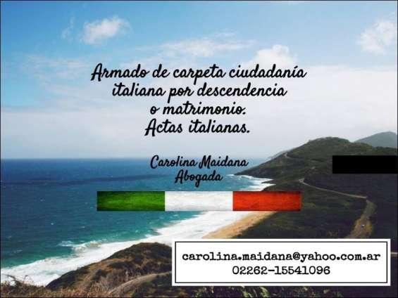 Armado carpeta ciudadanía italiana por descendencia o matrimonio