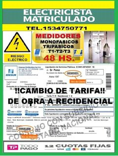 Electricista matriculado lanus tel.1534750771