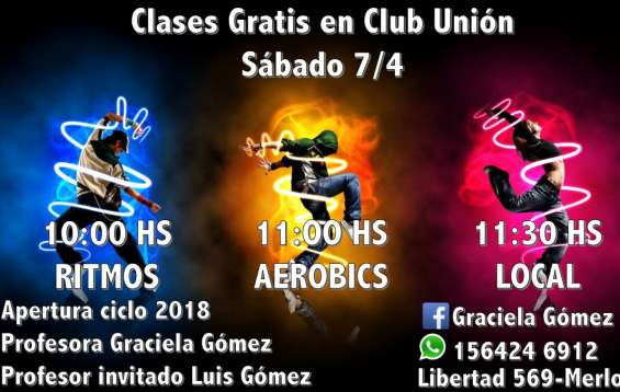 Clases gratis en el club uniòn de merlo dia 7/4/18