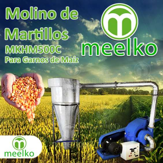 Molino triturador meelko de biomasa a martillo eléctrico hasta 1500 kg hora - mkh500c