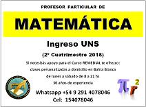 Matemática (ingreso uns 2018) clases a domicilio