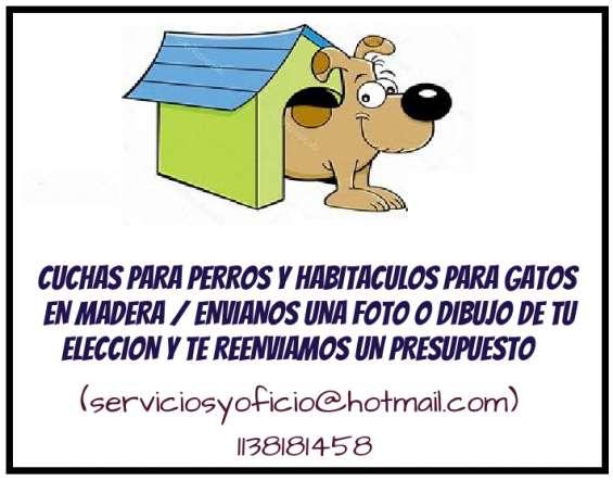 # cuchas para peros y habitaculos para gatos en madera