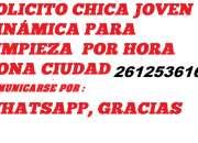 SOLICITO CHICA JOVEN PARA LIMPIEZA POR HORA 2612536166,COMUNICARSE POR WHATSAPP,GRACIAS
