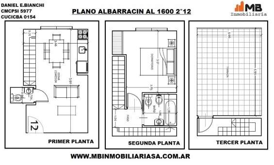 Parque chacabuco ph 2 amb.c/terraza en albarracin al 1600 2°12