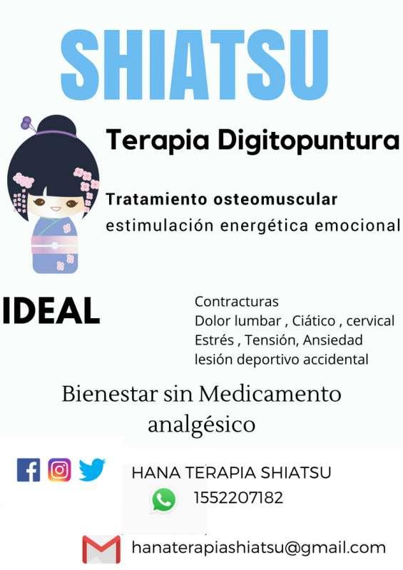 Shiatsu terapia digitopuntura idealparacontracturas, ciatico?fatiga,tension