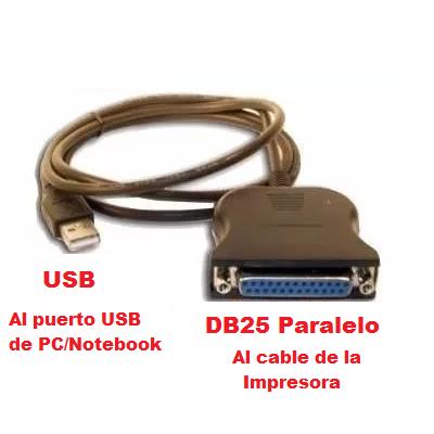 Conversor paralelo a usb impresoras epson lx810 lx300 ap2000 etc cable adaptador lpt1 db25