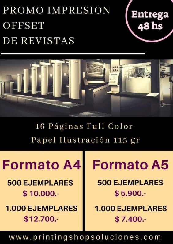 Impresión offset de revistas, folletos, catálogos, libros