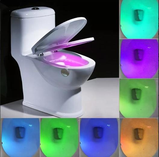 Luz led inodoro 8 colores baño con sensor detecta movimiento