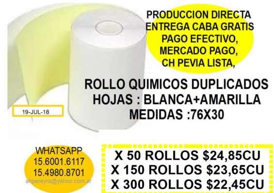 Rollos de papel para registradoras químico duplicado 76x30*