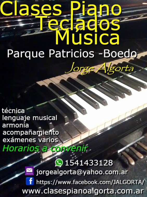 Clases de piano, teclados, musica