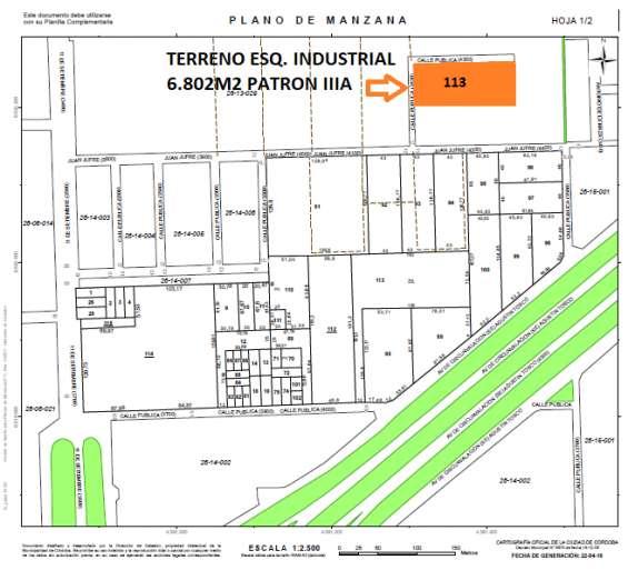 Oportunidad!! terr. esq. industrial. 6.802m2. patron iiia