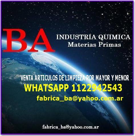 Ba quimica - materias primas para elaborar art limpieza 01122942543
