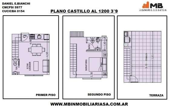 Suspendido!!chacarita venta ph 2 amb.c/terraza en castillo al 1200 3°9