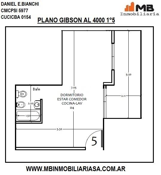 Boedo venta monoamb. en construcción con balcón en gibson al 4000 1°5