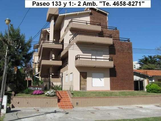 Villa gesell, 2 ambientes, 4 plazas, parque y quincho paseo 133 y 1