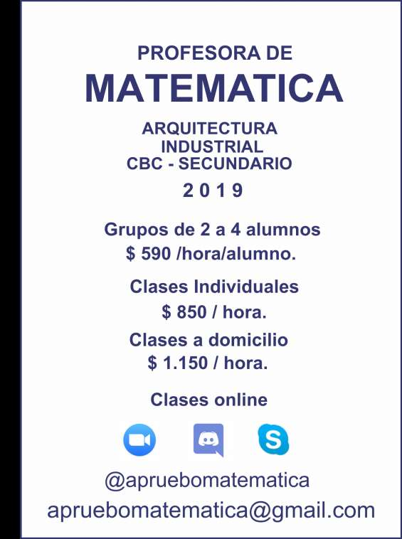 Matemática clases vía skype