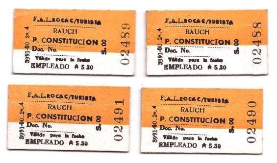 Cuatro antiguos boletos de tren correlativos sin circular
