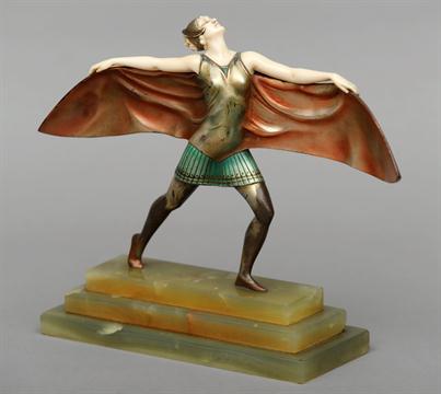 Figura art deco bronce y marfil