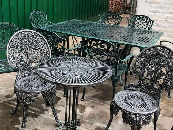 Juegos de jardín mesa y sillas de fundicion de aluminio