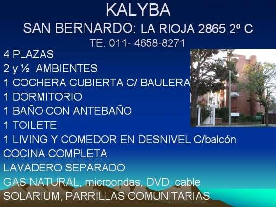 San bernardo, 2 ambientes con cochera cubierta 4/5 plazas temporada 2020