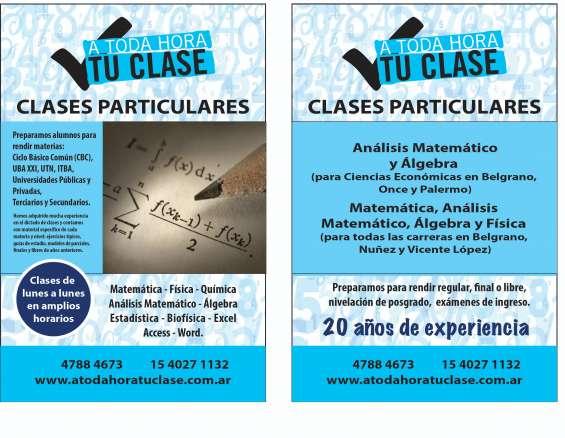 Clases de matematica para nivel secundario en belgrano palermo colegiales